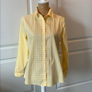 Lands' End yellow and white checked blouse. 8